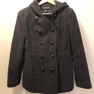 London fog double breasted wool pea coat
